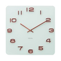 Karlsson Vintage Square Glass Clock - white & copper wall clock