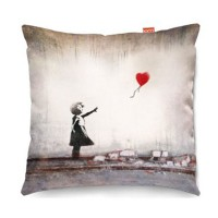 Banksy Heart Balloon Sofa Cushion - designer art print pillow