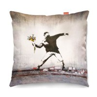 Banksy Thug Flowers Sofa Cushion (2 Sizes) - Red Candy