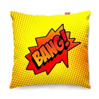 Comic Bang Yellow Sofa Cushion - designer yellow pop art pillow