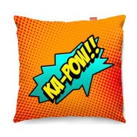 Comic Ka-Pow Orange Sofa Cushion - designer orange comic pillow