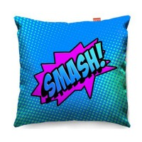 Comic Smash Blue Sofa Cushion - designer blue pop art cushion
