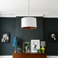 Love Frankie Cotton Lampshade (Crisp White & Brushed Copper) - Red Candy