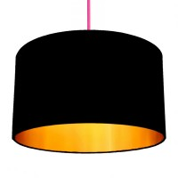 Love Frankie Cotton Lampshade (Jet Black & Gold) - Red Candy