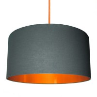 Cotton Lampshade - Slate Grey & Brushed Copper - Love Frankie