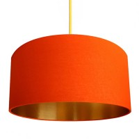 Cotton Lampshade - Tangerine & Gold - Love Frankie