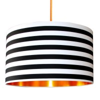 Fabric Lampshade - Circus Stripes & Brushed Copper - drum lampshade