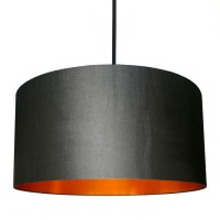 Love Frankie Fabric Lampshade (Gunmetal & Brushed Copper) - Red Candy