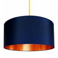 Love Frankie Fabric Lampshade (Midnight Blue & Brushed Copper) - Red Candy