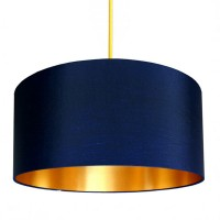 Love Frankie Fabric Lampshade (Midnight Blue & Gold) - Red Candy