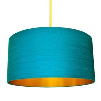 Indian Silk Lampshade - Aqua & Gold - Love Frankie