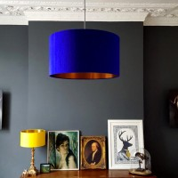 Indian Silk Lampshade - Electric Blue & Brushed Copper