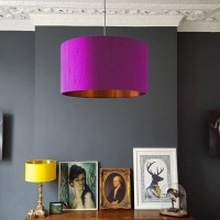 Indian Silk Lampshade - Palma Violet & Brushed Copper