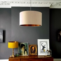 Indian Silk Lampshade - Pebble & Brushed Copper - Love Frankie