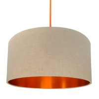 Love Frankie Linen Lampshade (Oatmeal & Brushed Copper) - Red Candy