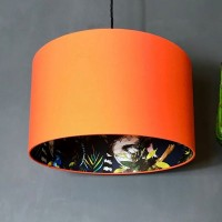 Silhouette Cotton Lampshade (Blue Lemur in Tangerine) - Red Candy