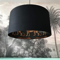 Silhouette Cotton Lampshade (Leopard in Jet Black) - Red Candy
