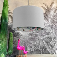 Silhouette Cotton Lampshade in Midnight Chimiracle (Cloud Grey) - Red Candy