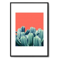 Cactus On Coral Framed Print - tropical art print - 83 Oranges