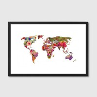 It's Your World Framed Art Print - floral world map print
