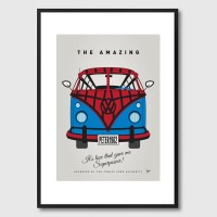My Superhero VW Spiderman Framed Print - comic book campervan art