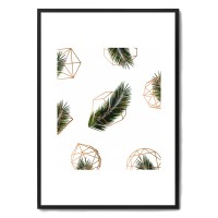 Palm + Geometry V2 Tropical Framed Print - Red Candy