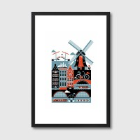Amsterdam Framed Art Print - infographic city art print