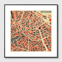 Amsterdam Map Framed Print - Red Candy