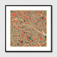 Berlin Map Framed Print - Red Candy