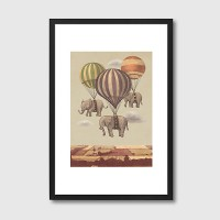 Flight of the Elephants Framed Art Print - Red Candy