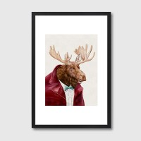 Moose in Maroon Framed Print - Red Candy