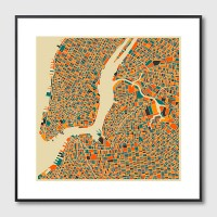 New York Map Framed Print - Red Candy