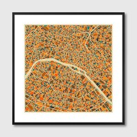 Paris Map Framed Print - Red Candy
