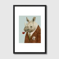 Rhino Framed Print – funky animal portrait art print