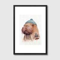 Tattooed Walrus Framed Print - Red Candy