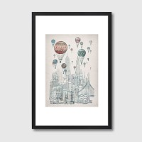 Voyages Over New York Framed Print – hot air balloon art print