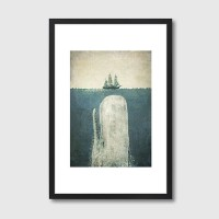 White Whale Framed Print – Moby Dick art print