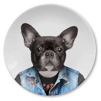Wild Dining Plate - Dog - quirky Frenchie dinner plate - Mustard
