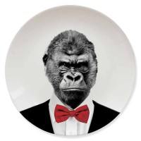 Wild Dining Plate - Gorilla - characterful monkey plate - Mustard