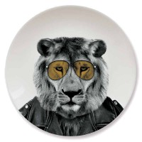 Wild Dining Plate - Lion - quirky animal dinner plate - Mustard