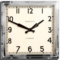 Newgate Quad Clock - Chrome square wall clock