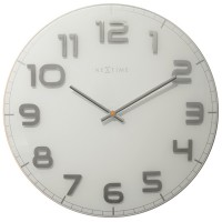 Nextime Classy Large Wall Clock (White & Silver) - Red Candy