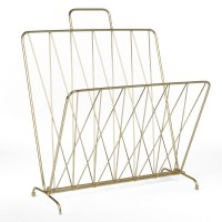 Diamond Raster Magazine Rack - Gold - metal wire magazine holder