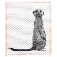 Meerkat Print Tea Towel - Red Candy