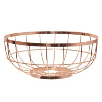 Open Grid Fruit Basket - designer copper fruit bowl
