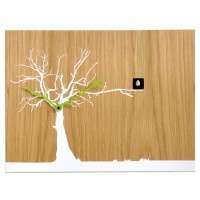 Cucu Ruku Cuckoo Clock - natural wood wall clock with white tree