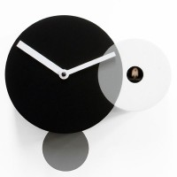 Kandinsky Black and White Cuckoo Clock - wooden monochrome clock