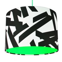 Monochrome Abstract Lampshade (Neon Green) - Red Candy
