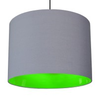 Neon Lined Lampshade (Grey & Green) - Red Candy