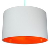 Neon Lined Lampshade (Light Grey & Orange) - Red Candy
